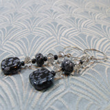 snowflake obsidian long dangle earrings
