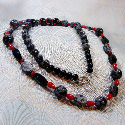 handmade necklace, obsidian long semi-precious unique necklace