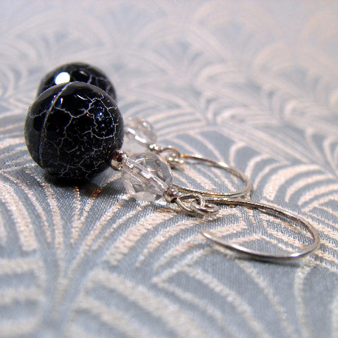Black Agate Handmade Earrings