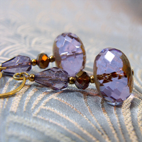 Stunning purple crystal earrings, handcrafted jewellery design, purple crystal drop handmade earrings UK