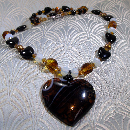 agate semi-precious stone necklace, handmade necklace uk