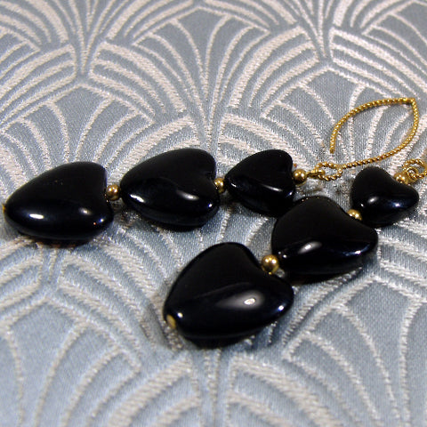 Long Dangle Black Unique Earrings