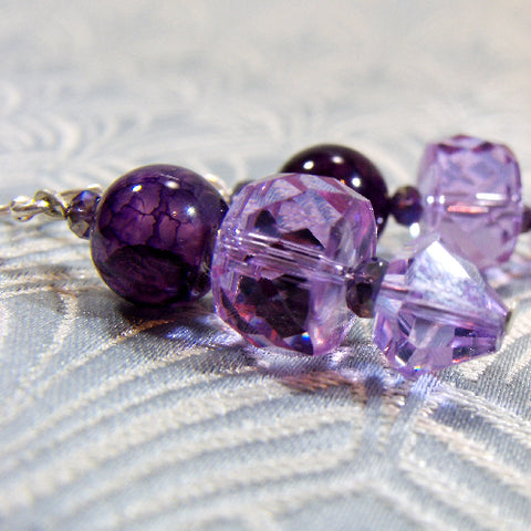 Handmade Purple Crystal Earrings