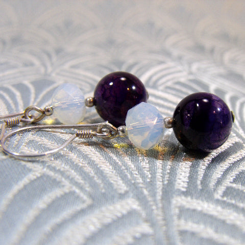 Unique Purple Semi-Precious Earrings
