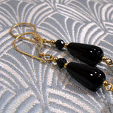 detail for long drop black semi-precious earrings