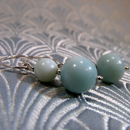 amazonite handcrafted earrings uk, semi-precious gemstone earring