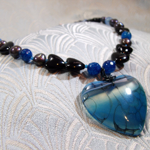 agate semi-precious stone jewellery uk, handmade pendant necklace