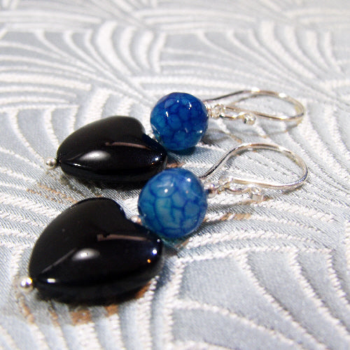 semi-precious stone jewellery uk, heart handmade gemstone earrings uk
