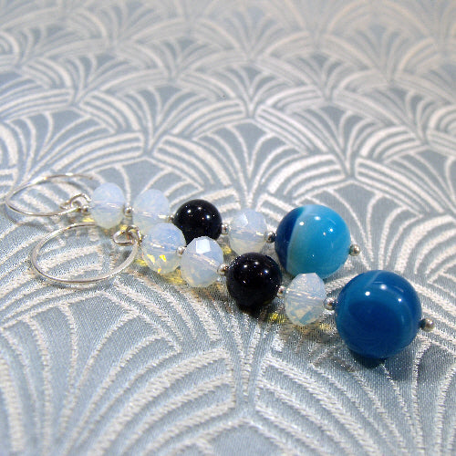 blue semi-precious stone jewellery, blue long drop earrings