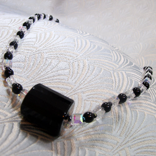 semi-precious stone necklace, obsidian onyx handmade necklace