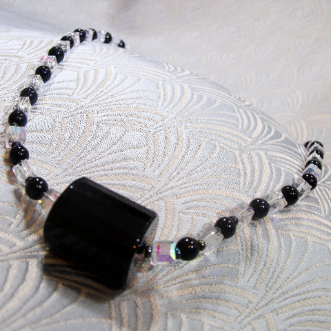 Unique Obsidian, Crystal Necklace