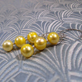 Unique Pearl Earrings Design, Lemon Pearl Drop Earrings (925)