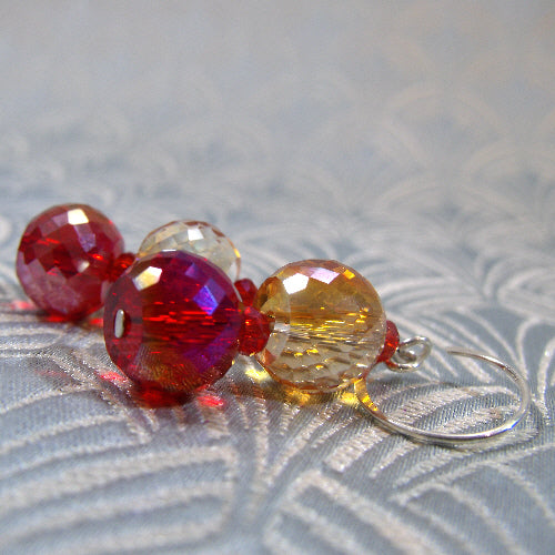 red orange crystal handmade earrings, crystal handmade jewellery uk