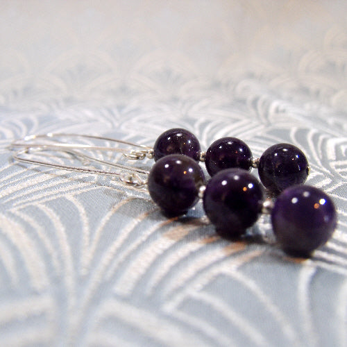 long amethyst semi-precious stone earrings, handmade jewellery uk