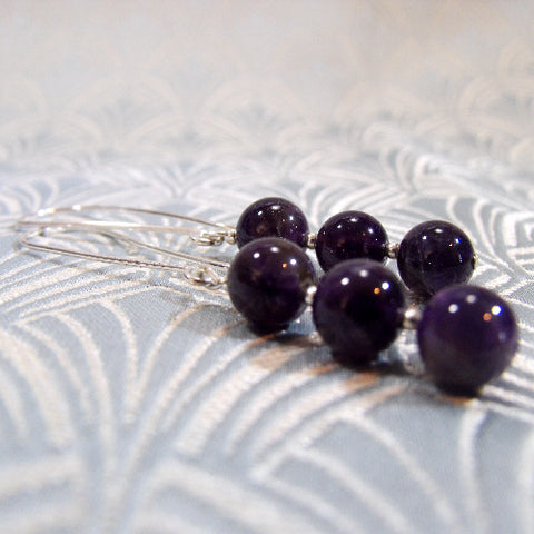 Long Amethyst Gemstone Earrings