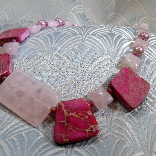 pink semi-precious stone necklace, quartz gemstone necklace