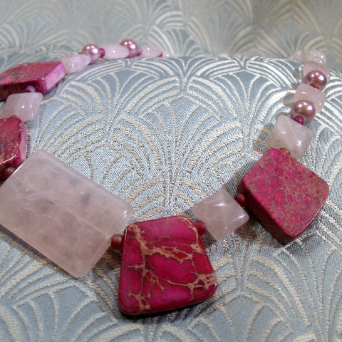 Rose Quartz handmade necklace UK