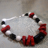 red black white handmade necklace
