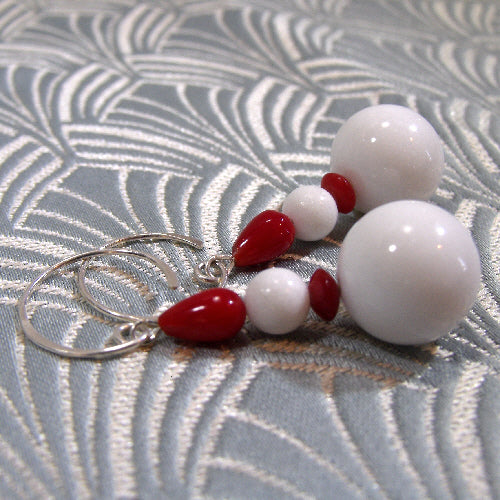 red white semi-precious stone jewellery, semi-precious stone earrings
