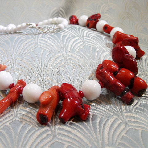 Red, White semi-precious necklace