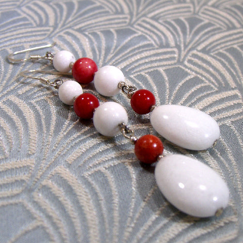 Red White Semi-Precious Earrings UK