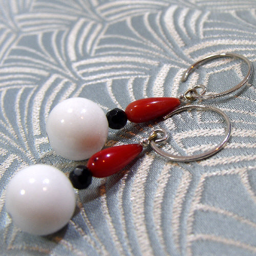 semi-precious stone drop earrings, handmade earrings red white