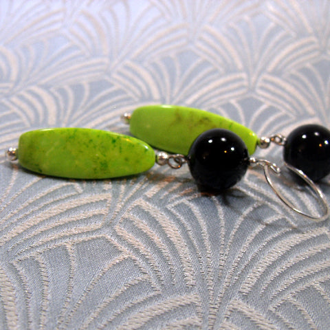 Green, Black Long Gemstone Earrings