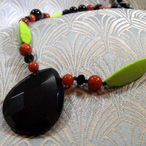 black green long gemstone necklace uk, semi-precious stone jewellery