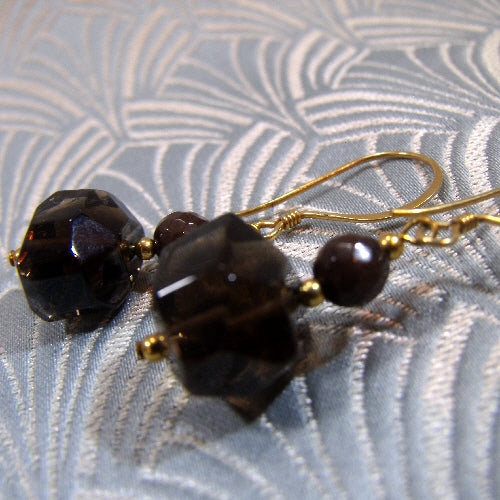 smoky quartz semi-precious stone earrings, semi-precious gemstone jewellery uk