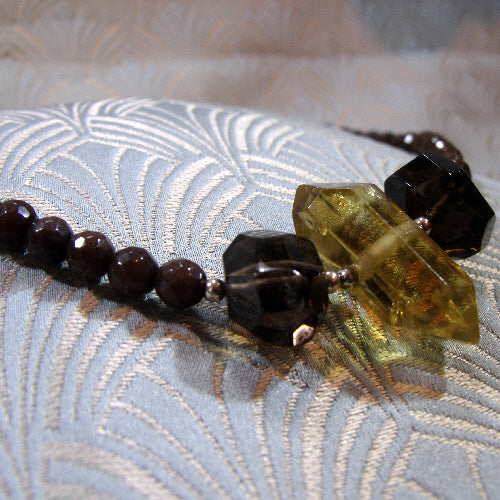 smoky quartz handmade necklace uk, semi-precious stone necklace