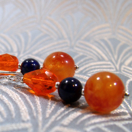 semi-precious stone jewellery earrings uk, blue orange handmade earrings jewellery