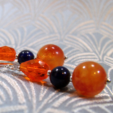 Blue & Orange Semi-Precious Earrings