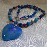 agate heart pendant necklace uk