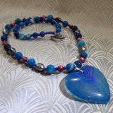 unique blue gemstone pendant necklace uk