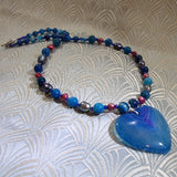 blue gemstone agate pendant necklace design