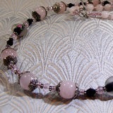 rose quartz gemstone necklace jewellery, semi-precious stone jewellery necklace
