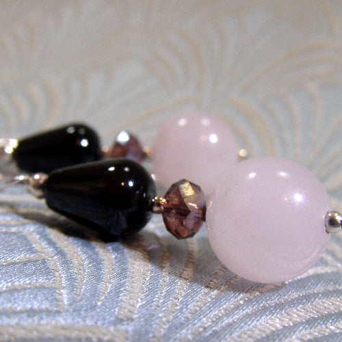 rose quartz gemstone earrings,  semi-precious gemstone jewellery