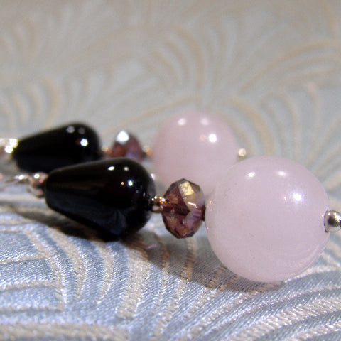 Rose Quartz Gemstone Earrings UK