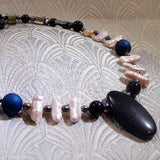semi-precious gemstone jewellery necklace, blue goldstone unique handmade necklace