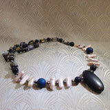 blue goldstone necklace with pearls