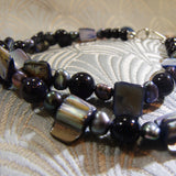 blue goldstone mother of pearl beads
