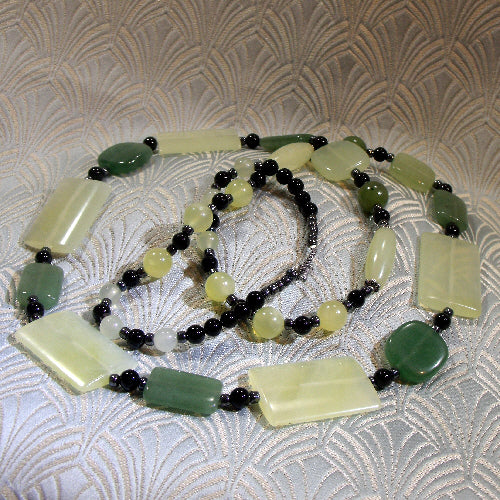 long jade necklace, handmade jewellery, jade semi-precious stone jewellery