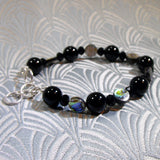black onyx semi-precious stone necklace