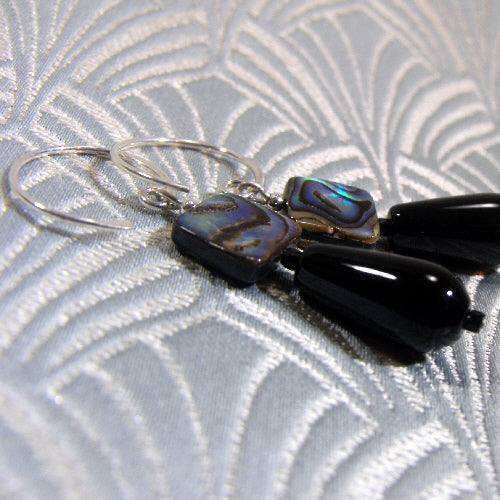 black onyx gemstone earrings, unique handmade jewellery