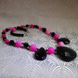 handmade pink black necklace