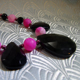 unique pink black handmade necklace