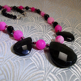 handmade pink black necklace unique design
