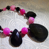 pink black gemstone necklace, unique handmade jewellery