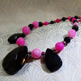 handmade pink black gemstone necklace