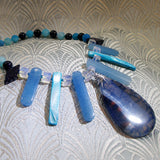 blue agate handmade gemstone jewellery, semi-precious stone necklace